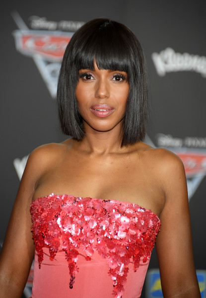 Kerry Washington sported a sleek, short 'do with blunt bangs at the premiere of 'Cars 3.'