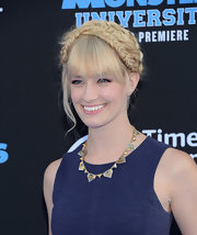 Beth Behrs chose a quirky fishtail braided updo for her look at the 'Monsters University' premiere.