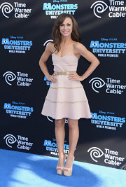 Karina wore a light pink strapless dress with gold stripe embellishments to the 'Monsters University' premiere.