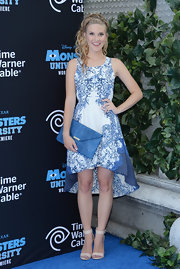 Caroline Sunshine wore a white and blue embroidered frock for her look at the premiere of 'Monsters University.'