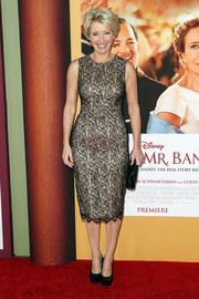 Emma Thompson looked downright elegant in a nude and black lace cocktail dress during the 'Saving Mr. Banks' premiere.