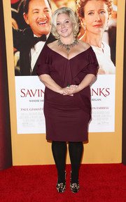 Alison Owen donned a plum-colored off-the-shoulder dress for the premiere of 'Saving Mr. Banks.'