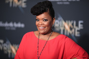 Yvette Nicole Brown styled her hair into a sculpted pompadour for the premiere of 'A Wrinkle in Time.'