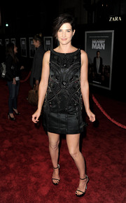 Cobie Smulders paired her dress with barely-there black platform sandals for a sexy finish.
