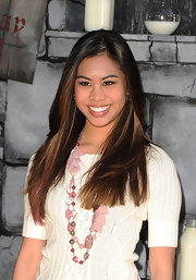 Ashley Argota wore her long hair smooth and shiny at the premiere of 'Puss in Boots.'
