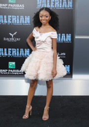 Skai Jackson was sweet and glam in a pale-pink off-the-shoulder tutu dress by Marchesa Notte at the premiere of 'Valerian and the City of a Thousand Planets.'