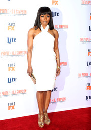 Angela Bassett was white-hot in this Finders Keepers halter dress during the premiere of 'American Crime Story: The People v. O.J. Simpson.'