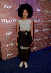 Jessica Williams was sporty in a gray crop-top at the premiere of 'Atlanta Robbin' Season.'