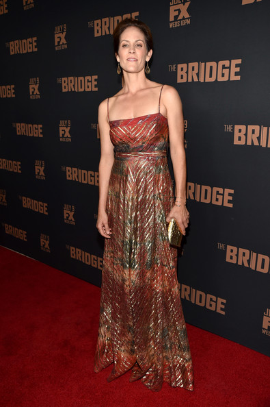 Annabeth Gish looked regal in a shimmery print gown during the premiere of 'The Bridge.'