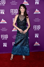 Katie Aselton looked dazzling in an embroidered blue and black gown at the premiere of 'Feud: Bette and Joan.'