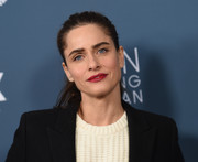 Amanda Peet styled her hair into a brushed-back ponytail for the premiere of 'It's Always Sunny in Philadelphia.'