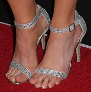 Christa Campbell added some sparkle to her red carpet look with these silver evening sandals with crystal embellishments.