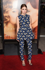 Holland Roden donned a cute Edeline Lee printed peplum top for the premiere of 'The Danish Girl.'