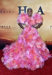 Cynthia Erivo was a sight to behold in this colorful feather-festooned gown by Marc Jacobs at the premiere of 'Harriet.'