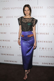 Isabel was a stand out on the red carpet in this contrasting dress. The lace top and lilac skirt made for a unique design.