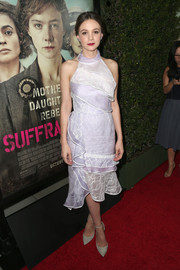 Carey Mulligan oozed sweetness in a layered lavender halter dress by Oscar de la Renta at the premiere of 'Suffragette.'