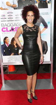 Lyn Talbert's black lace-panel leather dress at the 'Baggage Claim' premiere was a perfect mix of edgy and elegant.