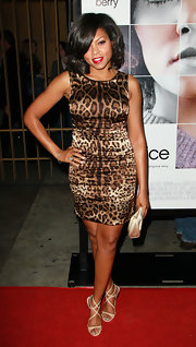 Taraji goes glam in leopard print for the 'Frankie and Alice' premiere.