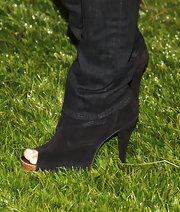 Gina Gershon complemented her jeans with a pair of black peep-toe booties for an edgy look during the 'Eastbound and Down' season 2 premiere.