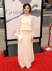 Sibel Kekilli was totally retro-inspired with this '70s-style long frock with puffed sleeves.
