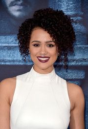 Nathalie Emmanuel attended the 'Game of Thrones' season 6 premiere wearing her hair in tight, high-volume curls.