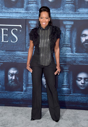 Regina King got all frilled up in a striped and ruffled shirt for the 'Game of Thrones' season 6 premiere.