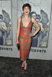 Carrie Coon completed her colorful look with a pair of knot-detail peep-toes by Christian Louboutin.