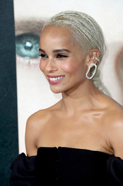 Zoe Kravitz wore her signature braids gathered in a low ponytail when she attended the premiere of 'Big Little Lies.'