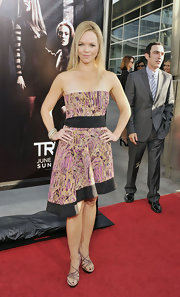 Lauren Bowles opted for a summer look at the 'True Blood' premiere in sparkly brown strappy sandals.