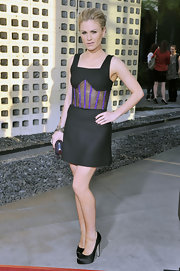 Anna Paquin gave her sparkly sheer LBD an elegant finish with a pair of black satin platform pumps.
