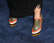 Janina Gavankar chose these multi-colored ankle booties for her cool and retro-inspired look.