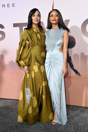 Tessa Thompson paired a fringed and beaded silver purse with a voluminous gold gown for the premiere of 'Westworld' seaason 3.