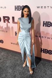 Thandie Newton looked ultra modern in an ice-blue cutout gown by Burberry at the premiere of 'Westworld' season 3.