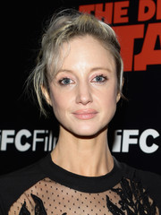 Andrea Riseborough went for a casual, messy updo when she attended the premiere of 'The Death of Stalin.'