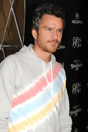 Balthazar Getty arrived at the premiere of IFC Films' 'Mercy' in a casual multicolored sweater.