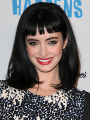 Krysten Ritter wore her dark silky locks sleek and straight with short blunt bangs at the premiere of 'Life Happens.'