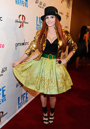 Phoebe Price glittered in her eclectic ensemble at the 'L!fe Happens' premiere.