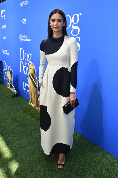Nina Dobrev looked adorable in a Valentino gown printed with oversized polka dots at the premiere of 'Dog Days.'
