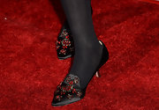 Melissa Leo chose black kitten heels that featured red embellishments for her evening look at the premiere of 'Call Me Crazy.'