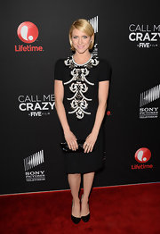 Brittany Snow chose a black frock that featured white and silver beaded embellishments for her elegant and contemporary look on the red carpet of 'Call Me Crazy.'