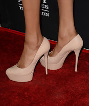 Michelle Williams opted for a simpler pair of heels, like these nude platform pumps, so as not to compete with her printed dress.