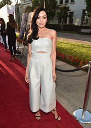 Aimee Garcia stayed on trend in a strapless ivory cutout jumpsuit at the premiere of 'Sister Cities.'