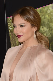 Jennifer Lopez swept her luxe mane back into a chic low ponytail for the premiere of 'What to Expect When You're Expecting.'
