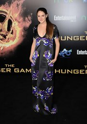 Shailene Woodley wore this oversize floral shift gown to the LA premiere of 'The Hunger Games.'