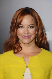 Amy Paffrath wore a creamy hot pink lipstick while attending 'The Hunger Games' premiere.