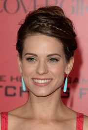 Lyndsy Fonseca swept her hair up in a messy-chic braided 'do for the 'Catching Fire' premiere in LA.