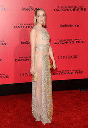 Jena Malone showed her more daring side in a beaded Nicholas Oakwell evening dress with see-through panels during the 'Catching Fire' LA premiere.