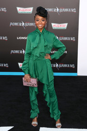 Skai Jackson donned a classic green pussybow blouse by John Paul Ataker for the LA premiere of 'Power Rangers.'