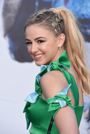 Chloe Lukasiak showed off a fun and chic partially braided ponytail at the LA premiere of 'Power Rangers.'
