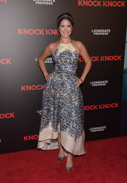 Lorenza Izzo attended the premiere of 'Knock Knock' wearing a lovely printed halter dress.